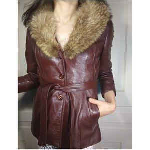 Vtg real fur & leather oxblood coat jacket vintage